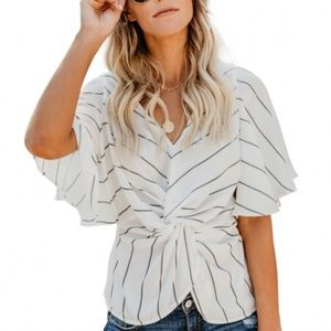 Coming Soon ! White Twist Front V Neck Blouse
